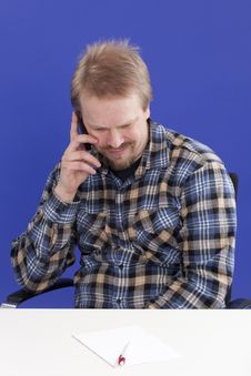 Free Man Takes A Personal Phone Call Royalty Free Stock Images - 14026789