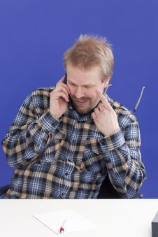 Man Takes A Personal Phone Call Stock Images