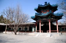 Free Red Chinese Pavilion With Blue Ornate Roof Stock Images - 14026914