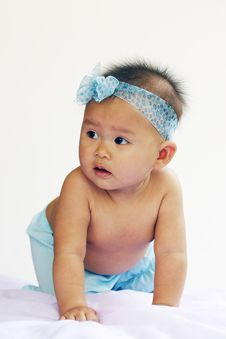 Free Baby Portrait In Blue Dress Royalty Free Stock Photo - 14027515