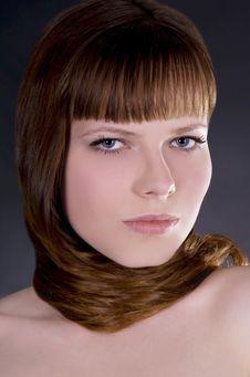 Free Girl With Straight Hair Over Dark Stock Photos - 14027833