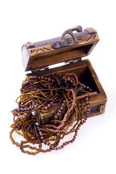 Treasure Chest - Wood Jewellery Royalty Free Stock Photos