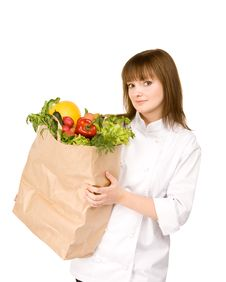 Free Cook Girl Holding A Bag With Vegetables Stock Images - 14028254