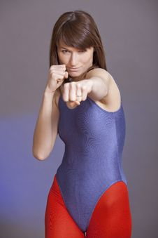 Free Punching Woman Royalty Free Stock Images - 14028589