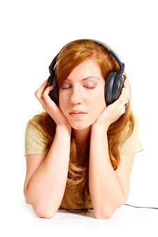 Free Girl With Headphones Royalty Free Stock Image - 14029776