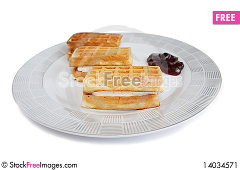 Free Isolated Wafers On A Plate Stock Image - 14034571