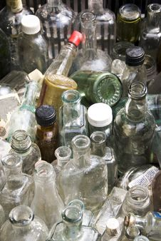 Empty Old Bottles Stock Image