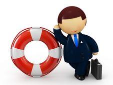 Free Businessman Holding Life Belt Stock Image - 14030271