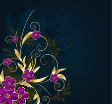 Free Floral Background With Stars Royalty Free Stock Photography - 14031007
