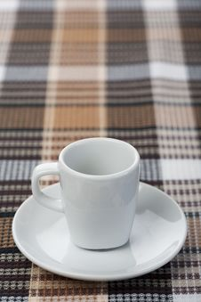 Free Espresso Cup On Tablecloth Royalty Free Stock Photos - 14031288
