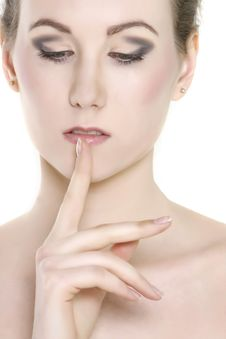 Free Beautiful Woman With Finger At Her Lips Stock Images - 14031714
