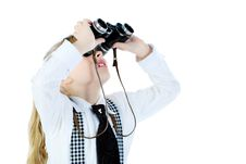 Free Girl With A Binocular Stock Photo - 14031730
