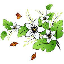 Free Flower Background With Butterfly Royalty Free Stock Image - 14031756