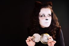 Cat-girl With A Can. Royalty Free Stock Image