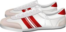 Free White And Red Sport Shoes Royalty Free Stock Photos - 14032348