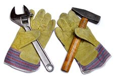 Free Hammer, Wrench And Work Gloves Royalty Free Stock Photography - 14032437