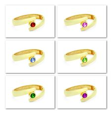 Free Golden Bracelet With Various Gem Stones Stock Photos - 14032483