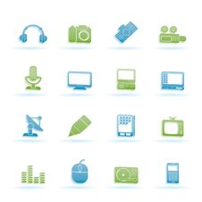 Free Media Equipment Icons Stock Photography - 14032702