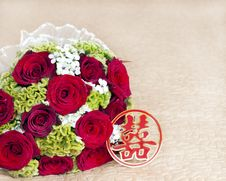 Bouquet Of Roses And Chinese Word Royalty Free Stock Photos