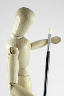 Manikin And Artist Brush Stock Photography
