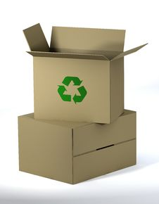 3d Recycle Cartons Royalty Free Stock Image
