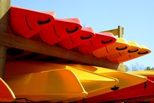 Free Kayaks On A Rack Stock Images - 14035584