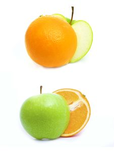 Free Green Apple And Orange Royalty Free Stock Photography - 14036157