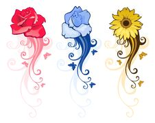 Free Floral Design Elements Royalty Free Stock Photos - 14037418