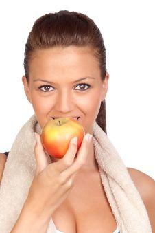 Gymnastics Girl Eating Apple Stock Photos