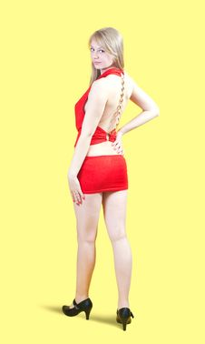 Free Sexy Girl In Red  Dress Royalty Free Stock Photography - 14039197