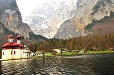 Free Church At Koningsee Lake Royalty Free Stock Photography - 14039327