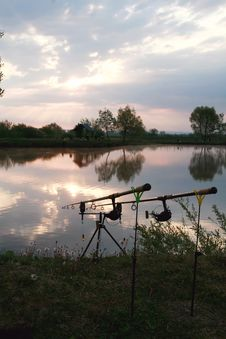 Free Fishing Rods And Sunrise Stock Images - 14039944