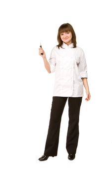 Free Cook Girl Holding A Knife Royalty Free Stock Photo - 14040005
