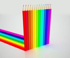 Free Colour Pencils And Rainbow Stock Image - 14040951