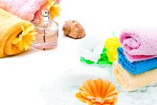 Free Spa Towels With Flower Royalty Free Stock Image - 14041286