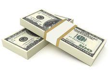 Free Two Stacks Of Hundred Dollar Bills Stock Image - 14042111