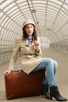 Girl At Station Royalty Free Stock Photo