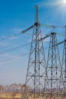 High Voltage Electricity Power Towers Royalty Free Stock Images