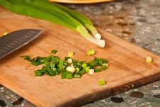 Free Sliced Green Onion On A Wooden Board Royalty Free Stock Photo - 14042875