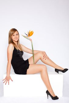Free Young Beautiful Woman With Flower Royalty Free Stock Photos - 14043258
