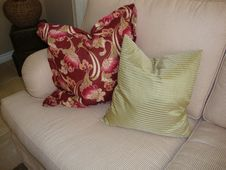 Pillows On A Couch/Sofa Stock Images