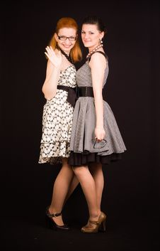 Two Girls In Dresses Stock Image
