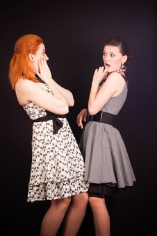 Two Girls In Dresses Stock Photography