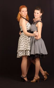 Free Two Girls In Dresses Stock Images - 14045214