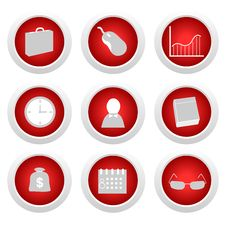 Business Red Button Set Stock Photo