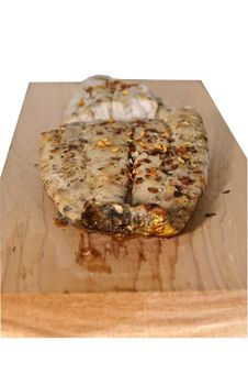 Free Mahi-Mahi On Wooden Grilling Plank Royalty Free Stock Image - 14045286