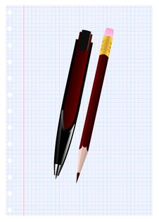 Pen And Pencil Stock Image