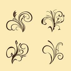 Set Of Floral Elements Royalty Free Stock Photos