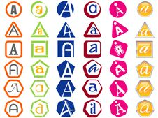 Letter A Icons Badges And Tags Royalty Free Stock Photos