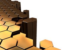Free Golden Hexagons Background Royalty Free Stock Images - 14048779